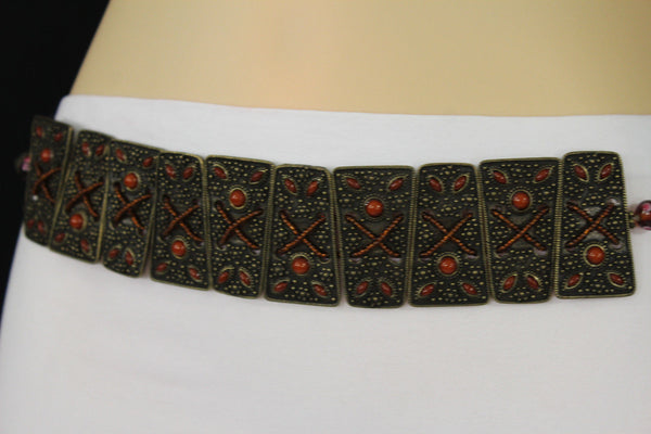Antique Gold Metal Plates Vintage Japan Black / Brown / Red Multi Beads Tie Skinny Belt New Women Accessories S M L - alwaystyle4you - 12