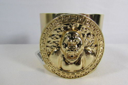 Gold Meta Cuff Bracelet Big Round Gorilla Medallion New Women Fashion Jewelry Accessories - alwaystyle4you - 6