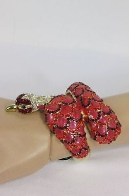 Gold Cuff Metal Bracelet Big Snake Red Beads Rhinestones New Women Fashion Jewelry Accessories - alwaystyle4you - 3