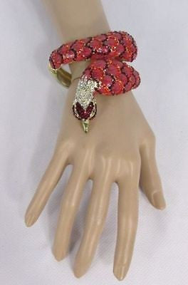 Gold Cuff Metal Bracelet Big Snake Red Beads Rhinestones New Women Fashion Jewelry Accessories - alwaystyle4you - 4