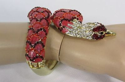 Gold Cuff Metal Bracelet Big Snake Red Beads Rhinestones New Women Fashion Jewelry Accessories - alwaystyle4you - 6