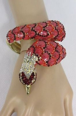 Gold Cuff Metal Bracelet Big Snake Red Beads Rhinestones New Women Fashion Jewelry Accessories - alwaystyle4you - 1