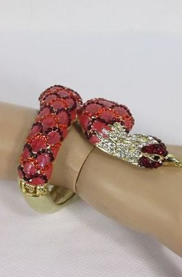Gold Cuff Metal Bracelet Big Snake Red Beads Rhinestones New Women Fashion Jewelry Accessories - alwaystyle4you - 2