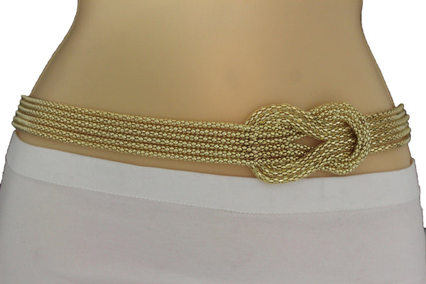 Gold / Silver Mesh Braided Metal Hip High Waist Belt New Women Fashion Accessories Plus Size M L XL - alwaystyle4you - 22