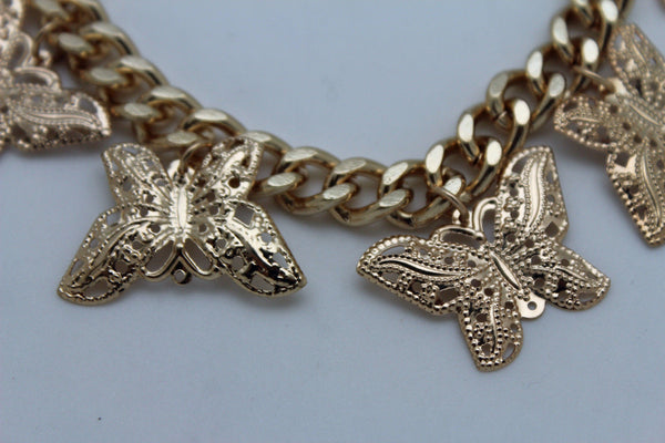 Gold Metal Chain Bracelet Multi Butterfly Charm Wrist Trendy New Women Fashion Jewelry Accessories - alwaystyle4you - 11