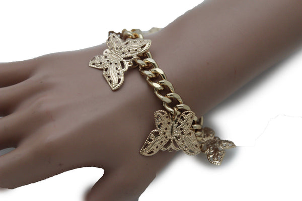 Gold Metal Chain Bracelet Multi Butterfly Charm Wrist Trendy New Women Fashion Jewelry Accessories - alwaystyle4you - 12