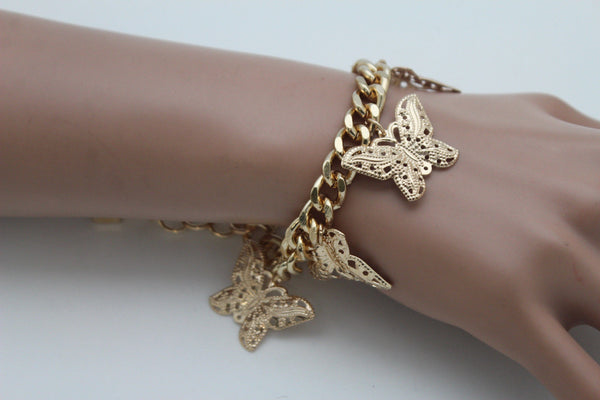 Gold Metal Chain Bracelet Multi Butterfly Charm Wrist Trendy New Women Fashion Jewelry Accessories - alwaystyle4you - 5
