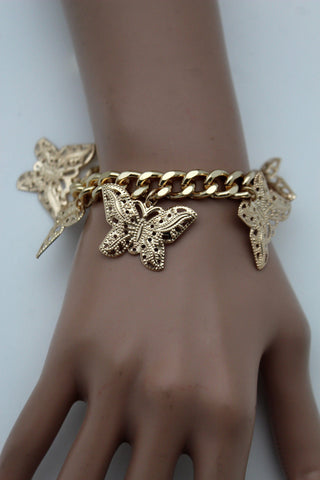 Gold Metal Chain Bracelet Multi Butterfly Charm Wrist Trendy New Women Fashion Jewelry Accessories - alwaystyle4you - 1