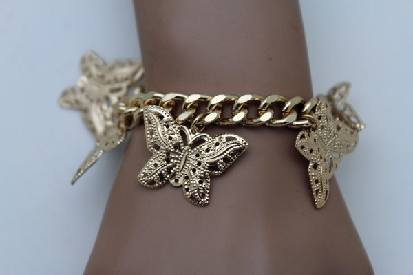 Gold Metal Chain Bracelet Multi Butterfly Charm Wrist Trendy New Women Fashion Jewelry Accessories - alwaystyle4you - 7