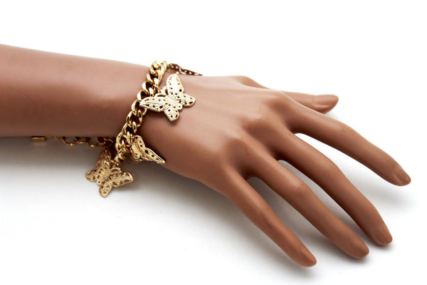 Gold Metal Chain Bracelet Multi Butterfly Charm Wrist Trendy New Women Fashion Jewelry Accessories - alwaystyle4you - 9