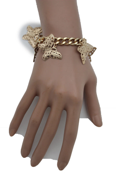 Gold Metal Chain Bracelet Multi Butterfly Charm Wrist Trendy New Women Fashion Jewelry Accessories - alwaystyle4you - 10
