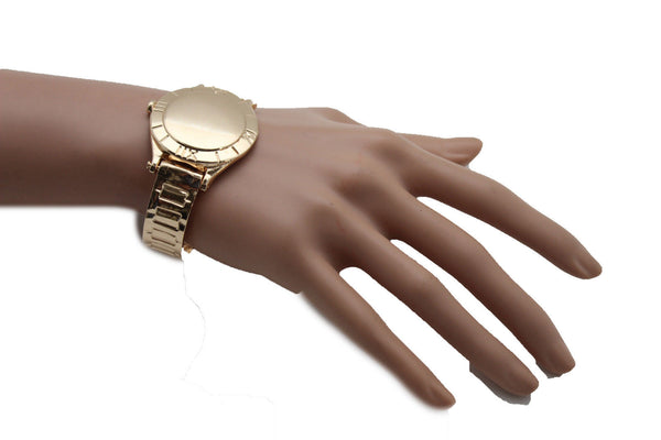 Gold Metal Cuff Bracelet Elastic Wrist Fake Watch Band New Women Fashion Jewelry Accessories - alwaystyle4you - 3