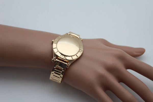 Gold Metal Cuff Bracelet Elastic Wrist Fake Watch Band New Women Fashion Jewelry Accessories