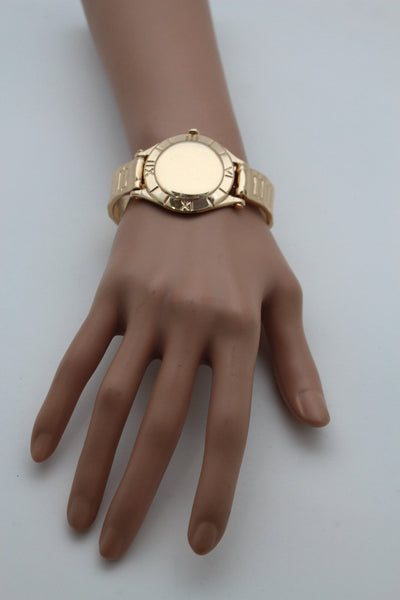 Gold Metal Cuff Bracelet Elastic Wrist Fake Watch Band New Women Fashion Jewelry Accessories - alwaystyle4you - 11