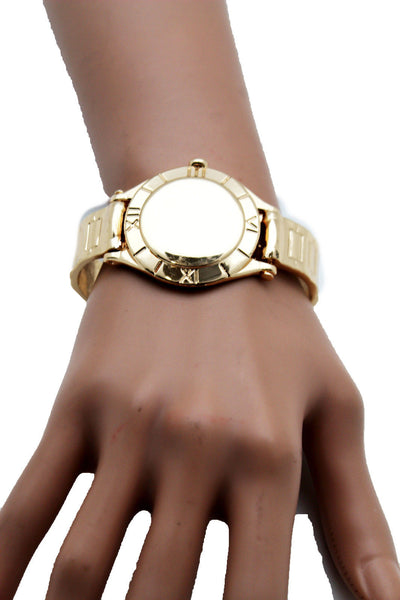 Gold Metal Cuff Bracelet Elastic Wrist Fake Watch Band New Women Fashion Jewelry Accessories - alwaystyle4you - 13