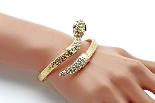 Gold / Silver Metal Narrow Cuff Bracelet Wrap Around Snake Bangle New Women Fashion Jewelry Accessories - alwaystyle4you - 23