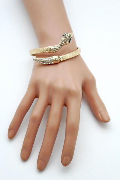 Gold / Silver Metal Narrow Cuff Bracelet Wrap Around Snake Bangle New Women Fashion Jewelry Accessories - alwaystyle4you - 24