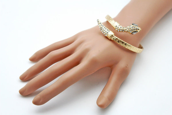 Gold / Silver Metal Narrow Cuff Bracelet Wrap Around Snake Bangle New Women Fashion Jewelry Accessories - alwaystyle4you - 16