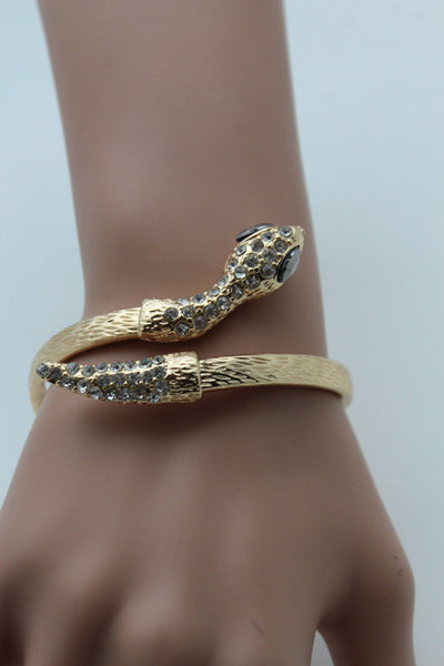 Gold / Silver Metal Narrow Cuff Bracelet Wrap Around Snake Bangle New Women Fashion Jewelry Accessories - alwaystyle4you - 17
