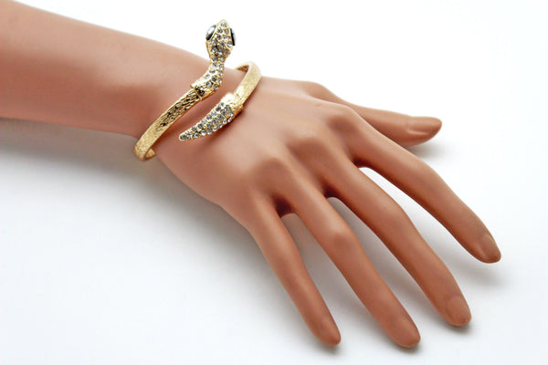 Gold / Silver Metal Narrow Cuff Bracelet Wrap Around Snake Bangle New Women Fashion Jewelry Accessories - alwaystyle4you - 20