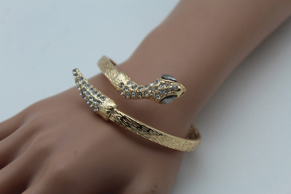 Gold / Silver Metal Narrow Cuff Bracelet Wrap Around Snake Bangle New Women Fashion Jewelry Accessories - alwaystyle4you - 22