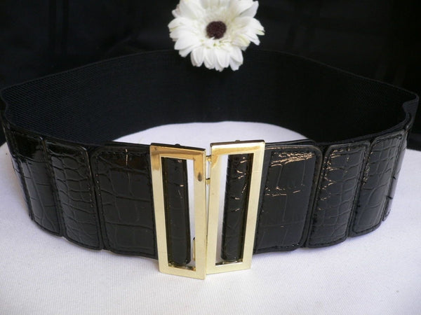 Black Faux Leather Stretch Back Hip High Waist Elastic Belt Gold Square Metal Buckle New Women Fashion Accessories S M - alwaystyle4you - 2