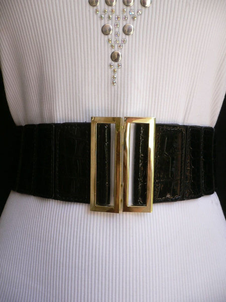 Black Faux Leather Stretch Back Hip High Waist Elastic Belt Gold Square Metal Buckle New Women Fashion Accessories S M - alwaystyle4you - 3