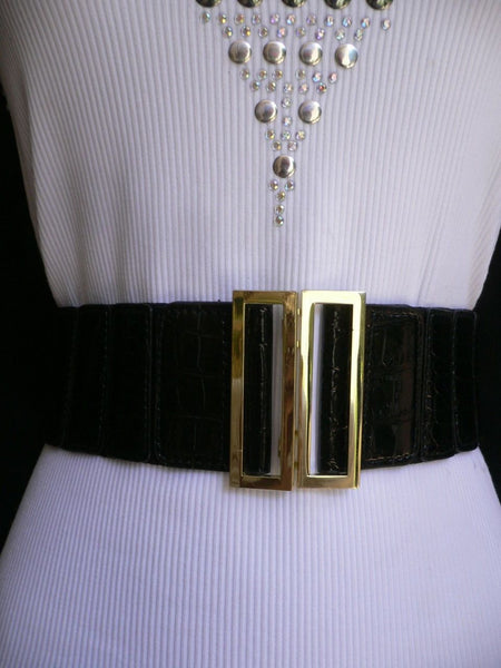 Black Faux Leather Stretch Back Hip High Waist Elastic Belt Gold Square Metal Buckle New Women Fashion Accessories S M - alwaystyle4you - 6