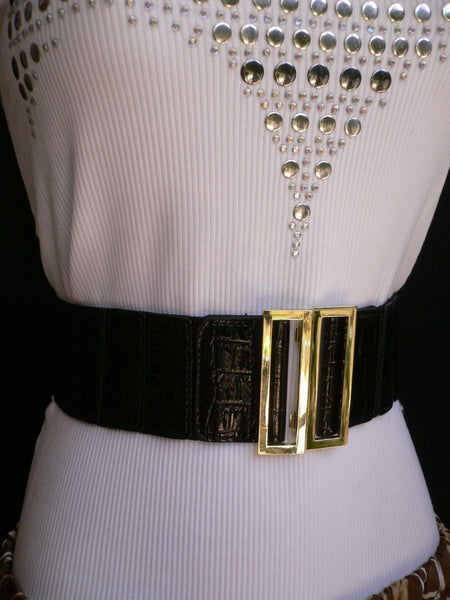 Black Faux Leather Stretch Back Hip High Waist Elastic Belt Gold Square Metal Buckle New Women Fashion Accessories S M - alwaystyle4you - 11