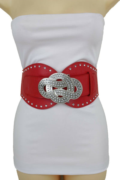 New Women Red Color Corset Belt Hip High Waist Silver Metal Infinity Buckle S M