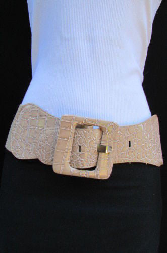 Beige Orange Black Brown Blue Light Blue White Red Purple Pink Gold Green Elastic Stretch Hip High Waist Belt Big Square Buckle New Women's Fashion Accessories XS S M L XL - alwaystyle4you - 83