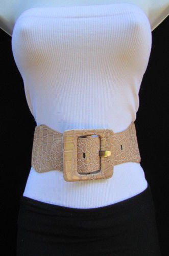 Beige Orange Black Brown Blue Light Blue White Red Purple Pink Gold Green Elastic Stretch Hip High Waist Belt Big Square Buckle New Women's Fashion Accessories XS S M L XL - alwaystyle4you - 85
