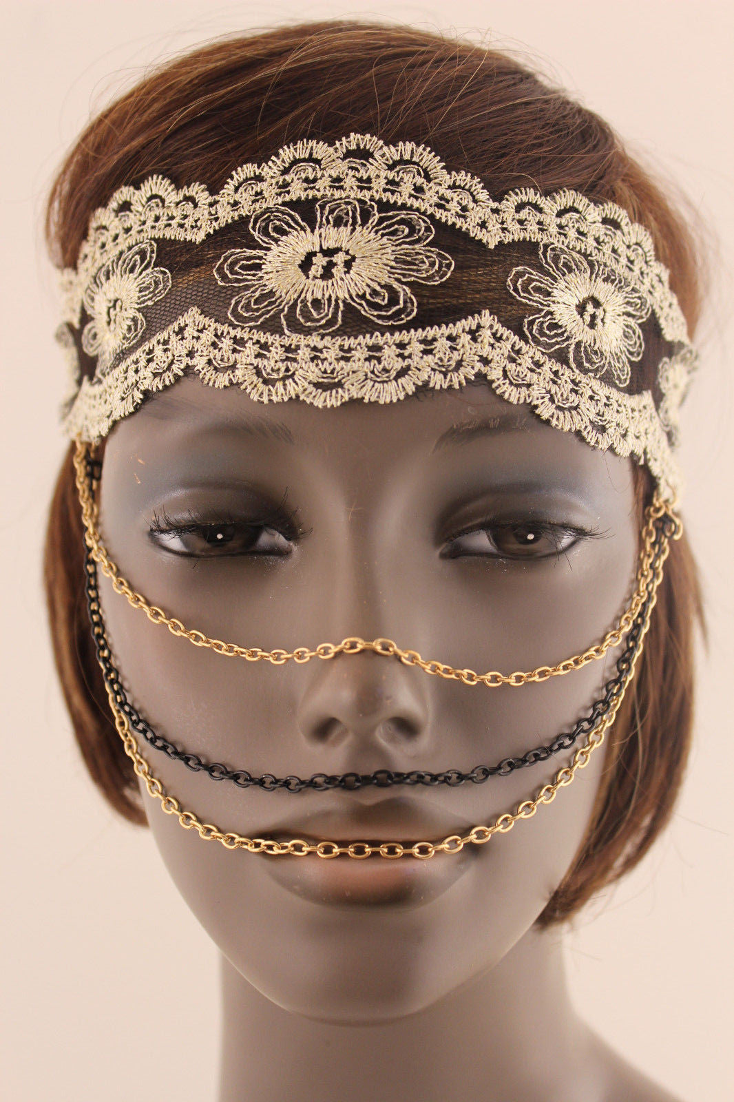 Beige Fabric Lace Gold Black Metal Elastic Chains Face -9937