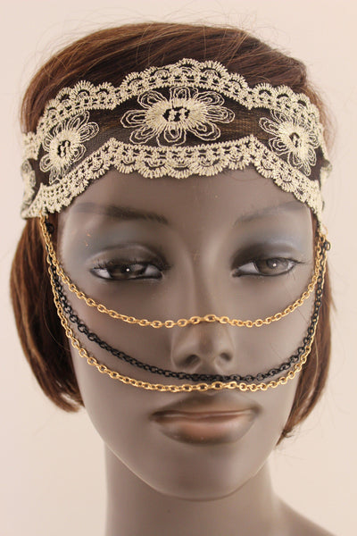 Beige Fabric Lace Gold Black Metal Elastic Chains Face Mask Halloween Women Accessories