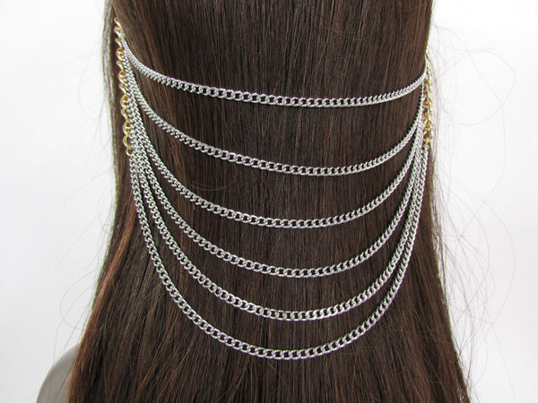 Gold Long Silver Black Head Chain Sides Clips Multi Waves Drops Strands Women Accessories