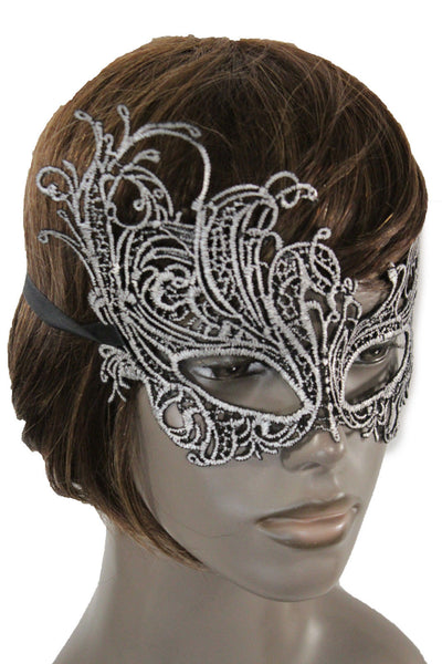Black Fabric Half Face Eye Costume Flowers Filigree Mask Halloween Women Men Accessories