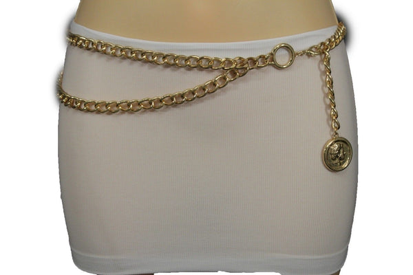 New Women Gold Metal Chain Belt High Waist Hip Greek Style Coin Charms Accessories XS S M