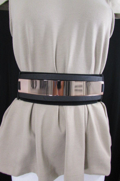 Gold Black / Gold / Silver Full Metal Gold Plate Wide Waist Chic Belt Fashion New Women Accessories Regular & Plul Size - alwaystyle4you - 25