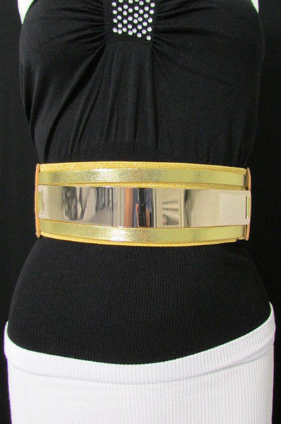 Gold Black / Gold / Silver Full Metal Gold Plate Wide Waist Chic Belt Fashion New Women Accessories Regular & Plul Size - alwaystyle4you - 31