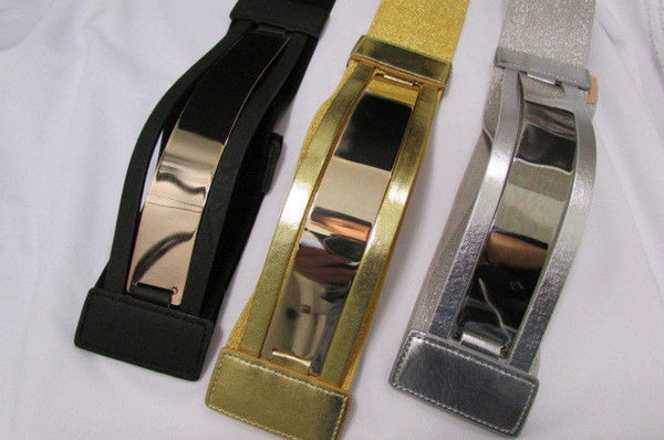 Gold Black / Gold / Silver Full Metal Gold Plate Wide Waist Chic Belt Fashion New Women Accessories Regular & Plul Size - alwaystyle4you - 2