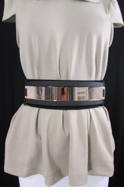 Gold Black / Gold / Silver Full Metal Gold Plate Wide Waist Chic Belt Fashion New Women Accessories Regular & Plul Size - alwaystyle4you - 32