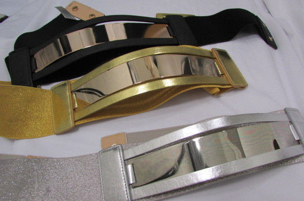 Gold Black / Gold / Silver Full Metal Gold Plate Wide Waist Chic Belt Fashion New Women Accessories Regular & Plul Size - alwaystyle4you - 33