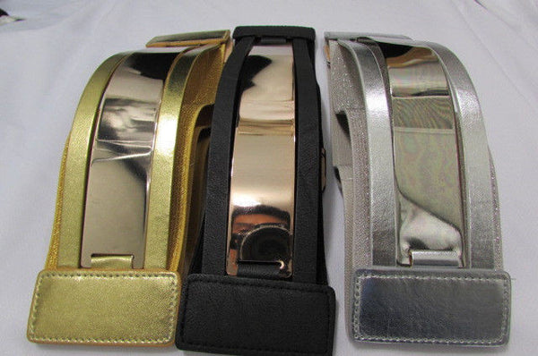 Gold Black / Gold / Silver Full Metal Gold Plate Wide Waist Chic Belt Fashion New Women Accessories Regular & Plul Size - alwaystyle4you - 4