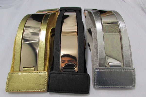 Gold Black / Gold / Silver Full Metal Gold Plate Wide Waist Chic Belt Fashion New Women Accessories Regular & Plul Size - alwaystyle4you - 37