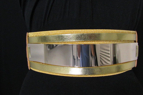 Gold Black / Gold / Silver Full Metal Gold Plate Wide Waist Chic Belt Fashion New Women Accessories Regular & Plul Size - alwaystyle4you - 40