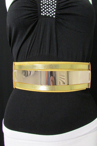 Gold Black / Gold / Silver Full Metal Gold Plate Wide Waist Chic Belt Fashion New Women Accessories Regular & Plul Size - alwaystyle4you - 42