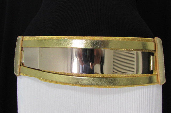 Gold Black / Gold / Silver Full Metal Gold Plate Wide Waist Chic Belt Fashion New Women Accessories Regular & Plul Size - alwaystyle4you - 44