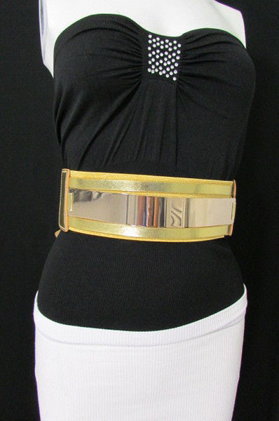 Gold Black / Gold / Silver Full Metal Gold Plate Wide Waist Chic Belt Fashion New Women Accessories Regular & Plul Size - alwaystyle4you - 46
