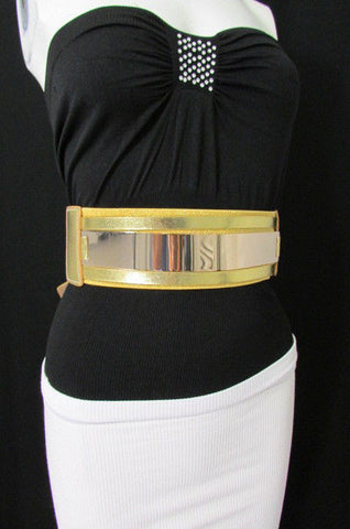 Gold Black / Gold / Silver Full Metal Gold Plate Wide Waist Chic Belt Fashion New Women Accessories Regular & Plul Size - alwaystyle4you - 1