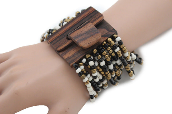 Gold Yellow / Pewter / Black White Gold / Off White / Blue / Green Bead Wrist Wide Bangle Bracelet Elastic Band Brown Wood Buckle New Women - alwaystyle4you - 3